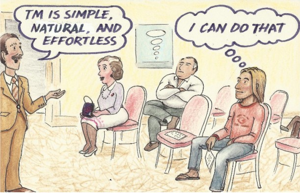 Transcendental Meditation intro lecture. Cartoon by Richard Barnes. All rights reserved.