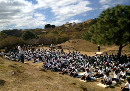 Coherence creating group on Monte Alban, Mexico, during meditation, 21 Dec 2012
