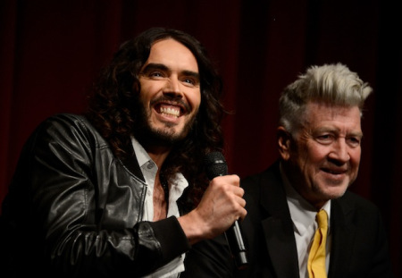 Comedian Russell Brand and Founder/Director David Lynch speak during the 'Meditation In Education' Global Outreach Campaign at The Billy Wilder Theater at the Hammer Museum on April 2, 2013 in Los Angeles, California. (Photo by Frazer Harrison/Getty Images)
