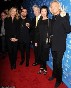 "Barbara, Ringo, David, and Eagles guitarist Joe Walsh with ""his fragrant other half""."