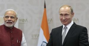 Modi and Putin at Ufa, 2015